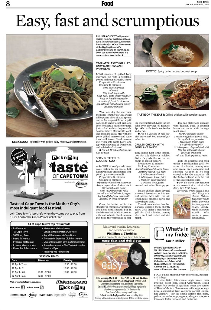 Cape Times article on Phillippa Cheifitz of 'easy, fast and delicious'