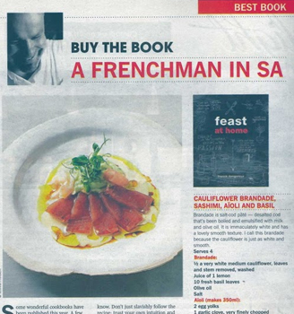 "Franck in today's (09/12/12) Sunday Times – ""A Frenchman in SA"""
