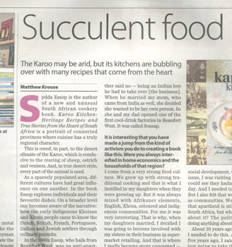 Succulent food – a review on Karoo Kitchen from the Weekly Mail and Guardian.