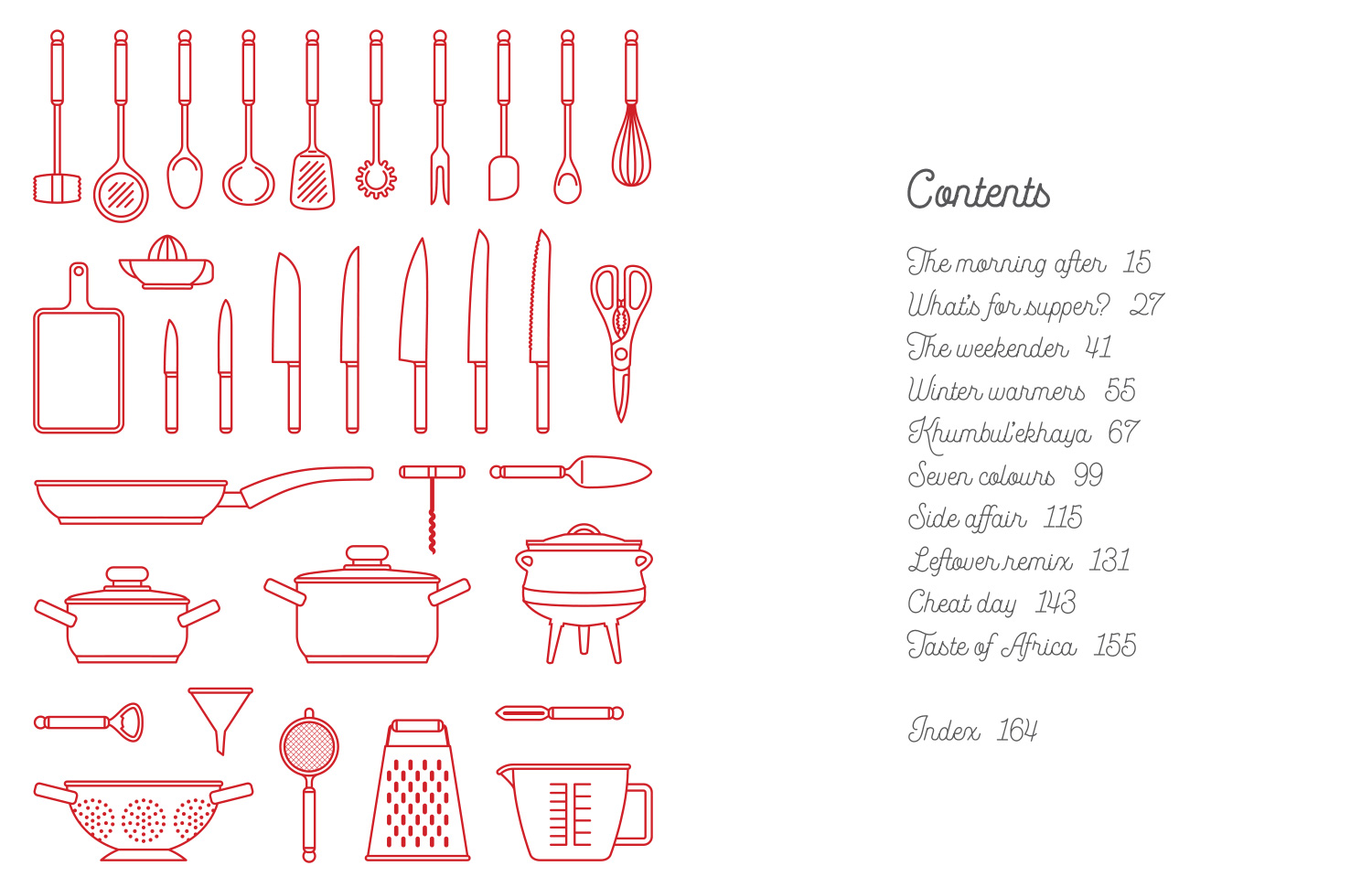 Contents page for The Lazy Makoti's Guide to the Kitchen