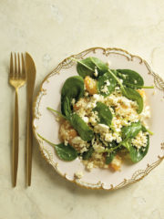 Couscous-peach-and -baby-spinach-salad