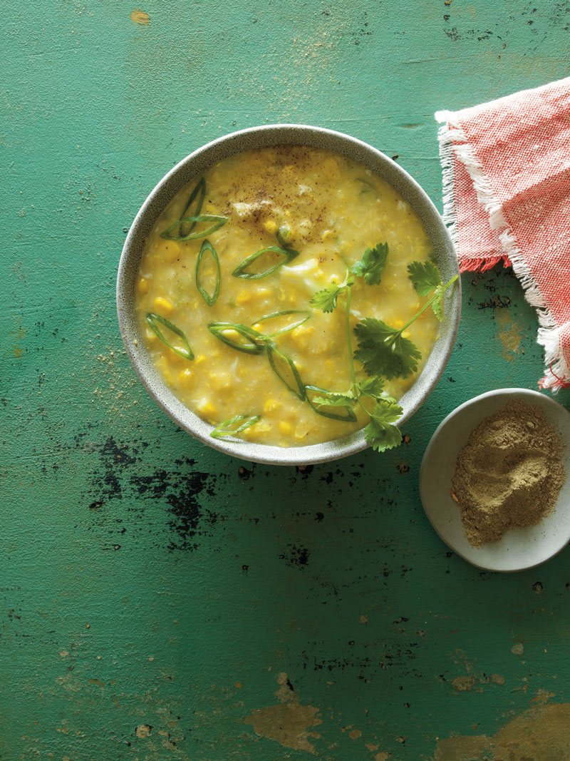Creamy corn soup with poached egg drop