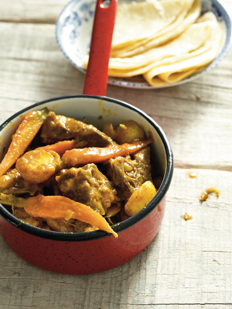 Lamb stew and roti