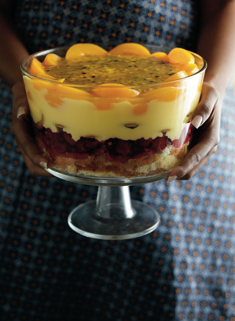 Sunday peach and passion fruit trifle