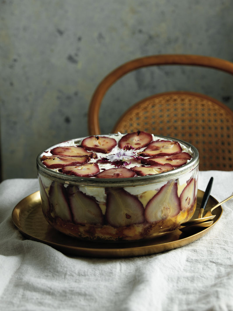 Poached pear trifle