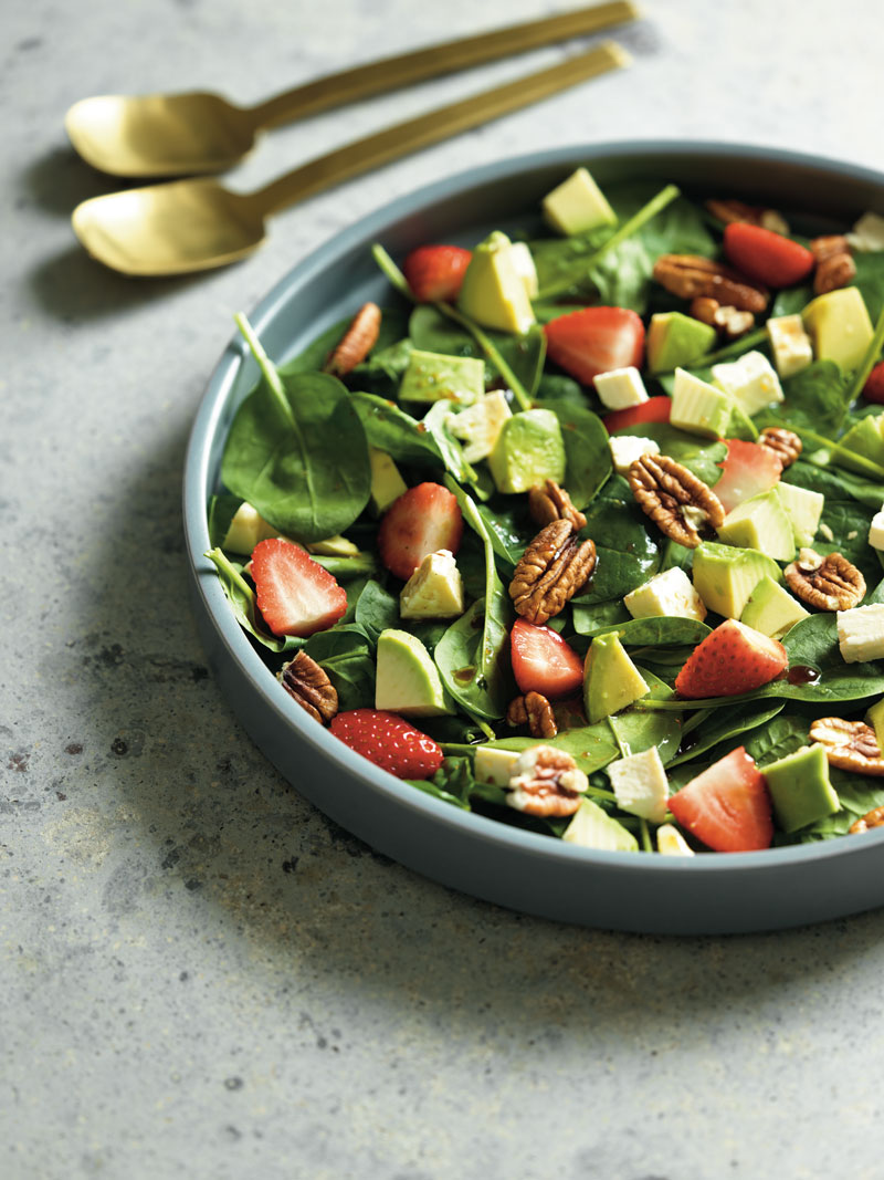 Strawberry and baby spinach salad