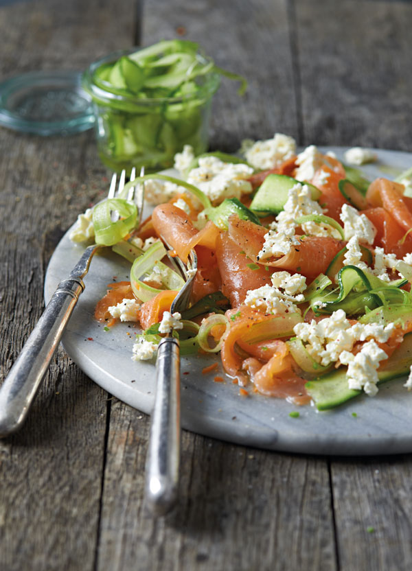 Trout carpaccio with celery and cucumber pickle and goat's cheese