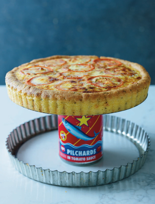 Pap and pilchard tart